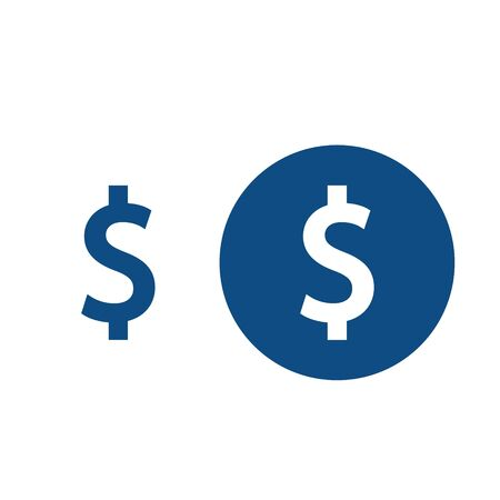 Drawn dollar money symbol. Option in a circle and without it. Vector blue icons.