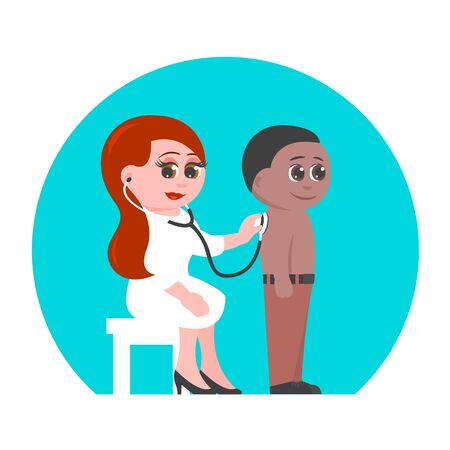 Woman pediatrician in a medical suit and a little boy. The doctor listens to the breath using a phonendoscope. Both are smiling. Vector cartoon illustration.