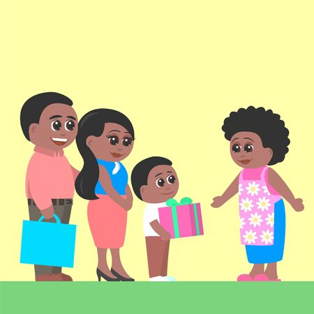 Father, mother and son visit grandmother. The boy gives her a present. Cartoon vector illustration.