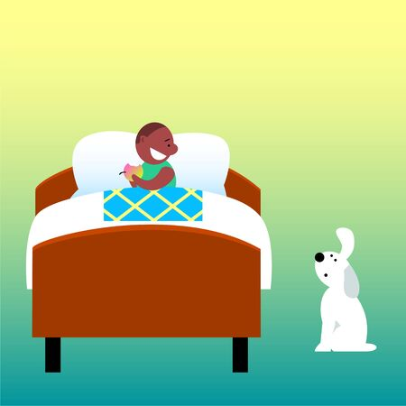 A boy with an apple in bed and a dog.