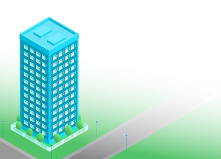 Tall isometric style residential building.