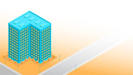 Tall blue residential building with floors. Near the road, street lamps and autumn trees. Place for text. Vector illustration banner in isometric style.  イラスト・ベクター素材
