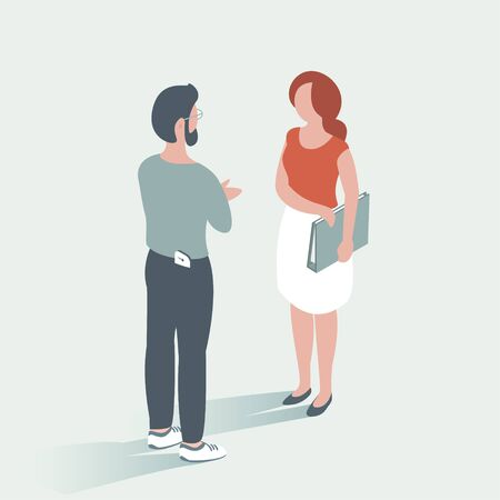 Modern man and woman at work in the office discuss business. They stand and talk. In the hands of documents. Vector illustration.