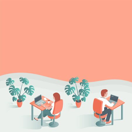 Modern young men and women work in the office. They sit at the table at laptops. Place for text. Vector illustration of people.