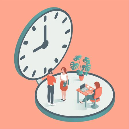 People in the office. Men and women work at computers and discuss business issues. Against the background of the clock. Vector illustration in isometric style.
