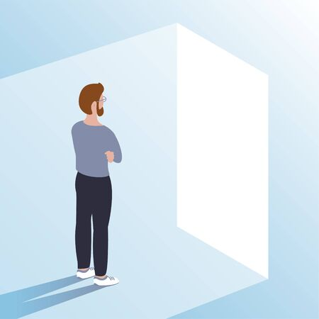 A young man stands in front of an open door. Makes a choice and makes a decision. Ahead of new opportunities and work. Vector illustration.