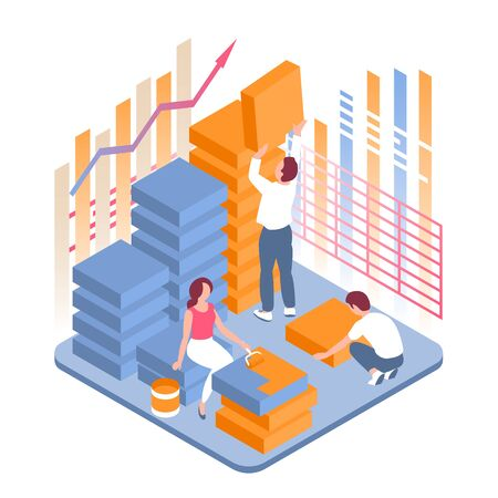 Young people work together. The growth of financial profits of a company or enterprise. Vector illustration in isometric style with diagrams and statistics.