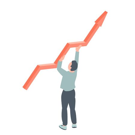 Man holds in his hands an arrow of business growth. Symbolic vector illustration of success and perseverance.