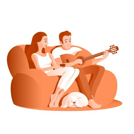 Young married couple are sitting on the couch. A man plays music on a guitar, a girl listens with pleasure. A spaniel dog is sleeping near his feet. Vector illustration.