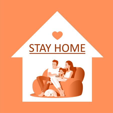 A young family with a child are resting on the couch in front of the TV during quarantine. A dog is sleeping nearby. Text calling to stay home. Vector illustration.