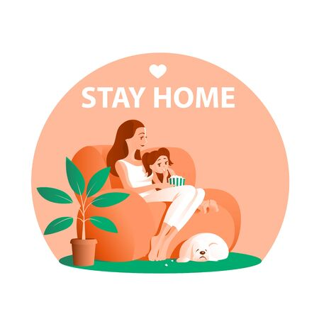 Mother and little daughter are sitting on the couch. Watching TV. Near the dog. Remain at home during quarantine. Vector illustration.
