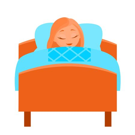 A young girl is sleeping sweetly under the covers. Wooden bed. Vector isolated illustration in cartoon style. Vettoriali