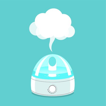 Steam humidifier. Vector isolated illustration.