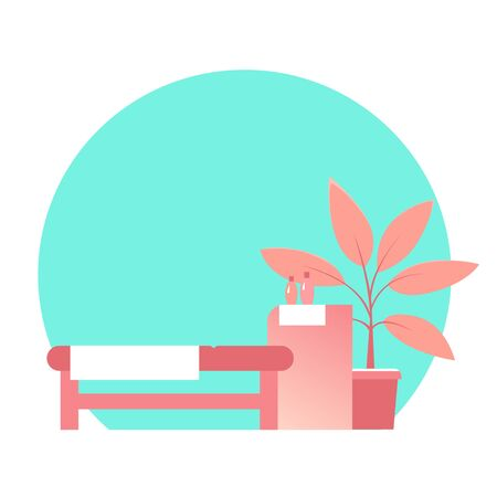 Cozy beauty salon with massage table. Potted plant on the floor. Place for text. Vector isolated illustration in a flat style.