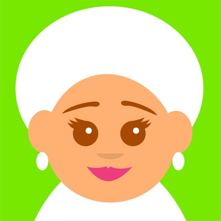 Smiling face of an old woman with gray hair. Square flat avatar. Vector illustration.