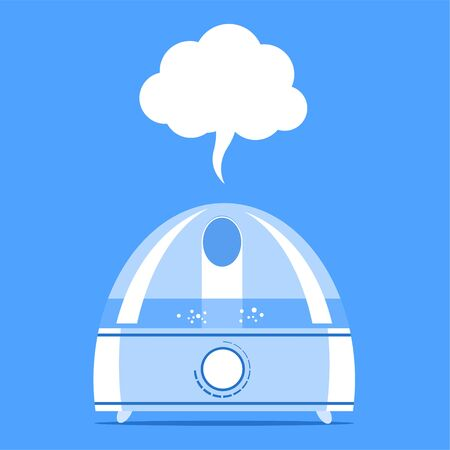 Illustration of a humidifier with water vapor. 일러스트