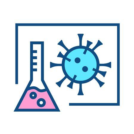 Illustration of a laboratory flask and coronavirus. Иллюстрация