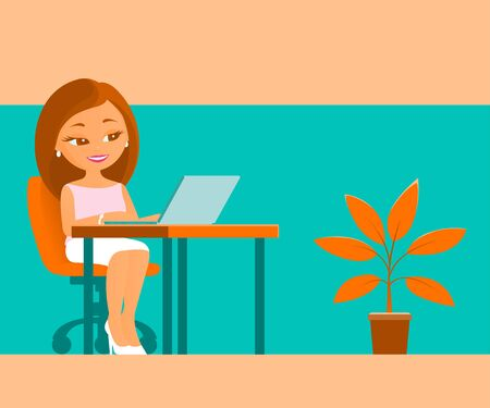 Young nice girl works in the office at the laptop. Sits at a table. There is a houseplant on the floor. Place for text. Vector cartoon illustration about business.