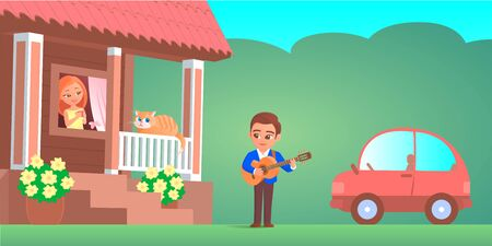 A boy in love plays the guitar under the window of a girl. She looks out with a smile. On the porch is a funny cat. In the background is a car. Vector cartoon romantic illustration.