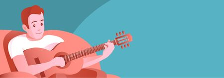 A young man in a soft home chair plays the guitar. Busy with your favorite music hobby. Vector illustration banner.