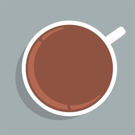 Cup of coffee top view. Hot flavored drink. Vector isolated illustration.
