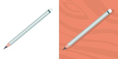 A simple pencil on a wooden table and on a white background. View from above. Vector isolated illustration.