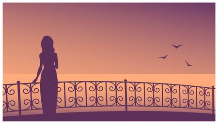 Female silhouette in a dress on the background of the evening sea. A slender girl stands on the promenade near the patterned fence. Vector illustration banner with place for text.