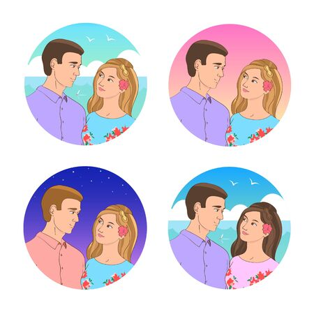 A set of four pictures with couples in love. Different color options. Beautiful young man and girl. Vector romantic illustration.
