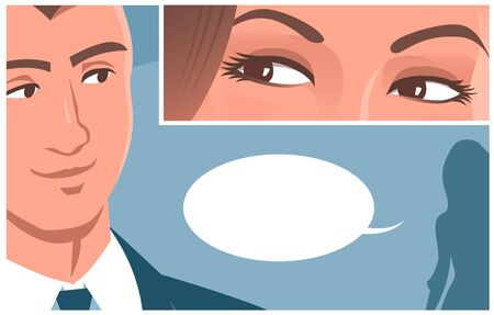 Beautiful female eyes look at a young man. He looked back at the woman. Vector romantic illustration in comic style. Place for text.
