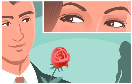 Beautiful female eyes look at a young man. He looked back at the woman. He wants to give her a red rose. Vector romantic illustration in comic style. Place for text.