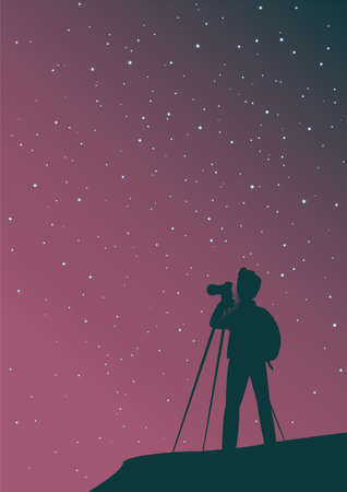 A man tourist photographs the starry sky. Ilustracje wektorowe