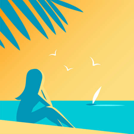 Silhouette of a girl and palm trees at a beach resort. Sits in the sand and looks at the sunny sunset. Summer holidays and tourism. Vector illustration.