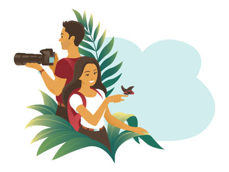 Young couple travel in the jungle. A man takes picture with a camera. Girl admires a tropical butterfly.