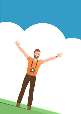 Man tourist with a camera on a background of clouds. Stands happy with hands up. Vector illustration poster.