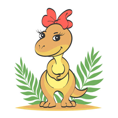 Little beige cute dinosaur girl with a red bow on her head. The second picture with a contour for coloring. Vector cartoon illustration for children.