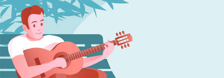 A young man plays the guitar. Sits on a street bench under a tree. Vector illustration banner with place for text. 矢量图像