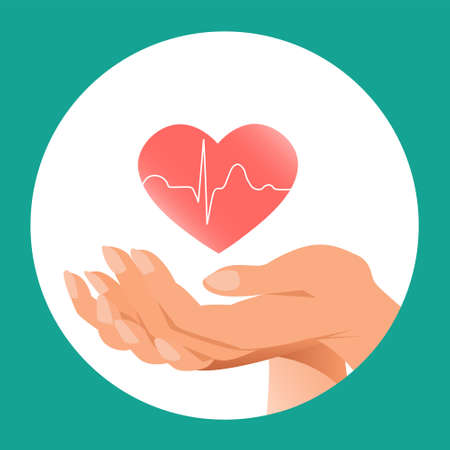 Heart health in the caring hands of a woman. Icon for cardiology and medicine. Symbolic vector illustration.