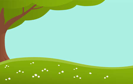 Green lawn with wildflowers and tree. Banner with place for text. Vector cartoon illustration for background.
