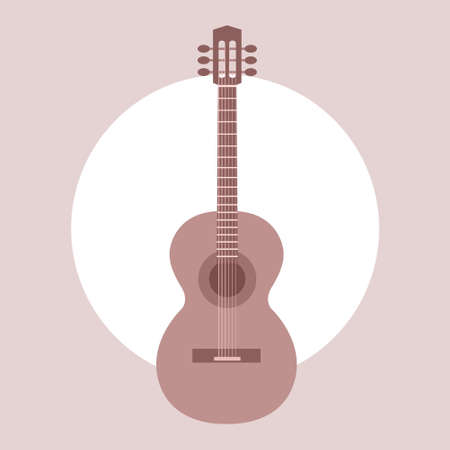 Square vector illustration with a classic guitar. Stringed musical instrument.