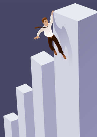 Businessman runs the risk of falling off the career ladder. Hanging on the edge. The symbolic concept of the financial crisis.