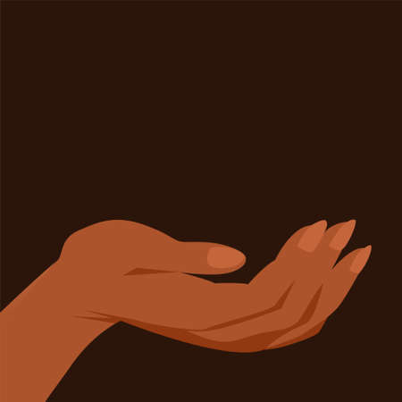 Beautiful female hand on a black background. Vector isolated illustration. 矢量图像