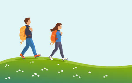 Man and woman with backpacks in nature. They walk with a smile on the green grass. Hiking and active lifestyle concept. Vector cartoon illustration.