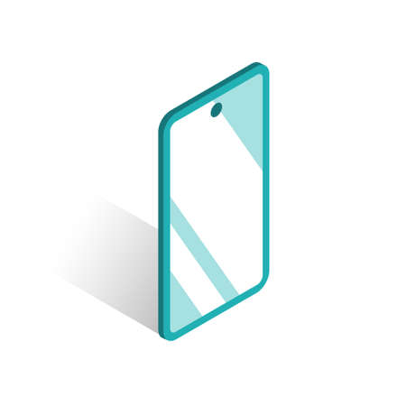 Smartphone with a glossy screen. Glare on the glass. Vector isolated illustration in isometric style.