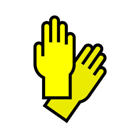 Yellow gloves for cleaning. Vector isolated illustration on white background.