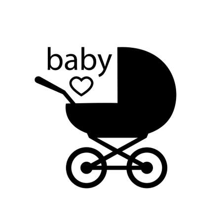Baby carriage icon on white background. A symbol of the birth of a child, maternal care and love. Vector isolated illustration.