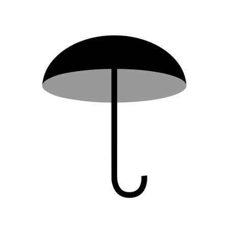 Opened umbrella. Black and white icon depicting weather, rain and seasons. Vector isolated illustration. 向量圖像
