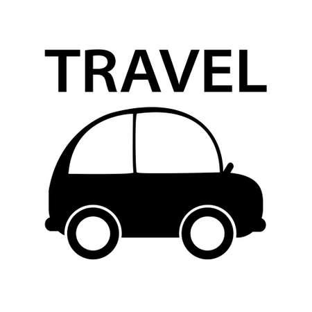 Black and white car travel icon. Light family transport. Vector isolated illustration. Ilustração