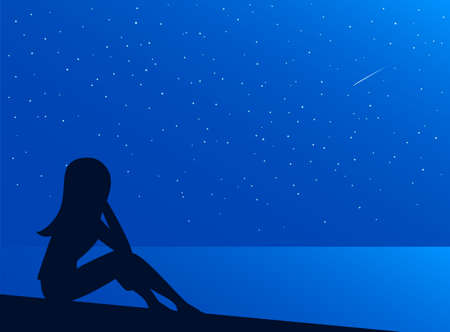 The girl sits on the shore of the night sea. Seascape with stars. Falling meteorite. Vector illustration of nature for background.