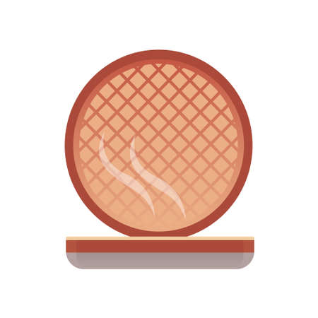 Open hot waffle iron. Electric kitchen appliance for frying and baking. Vector isolated illustration in flat style. 向量圖像