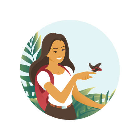 The tourist girl saw an exotic butterfly among tropical thickets. Vector illustration about nature and travel.  イラスト・ベクター素材